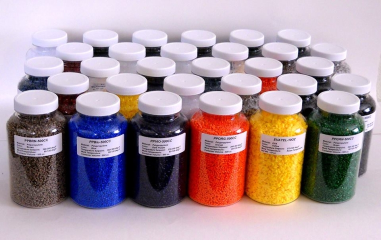 Jars of Plastic Pellets for Injection Molding